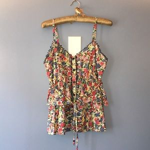 Anthropologie spaghetti strap floral ruffled top